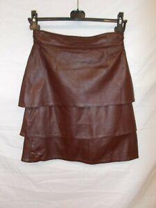 Original-1970-039-s-European-Vintage-Pellite-tiered-leather-Skirt-maroon-Germany