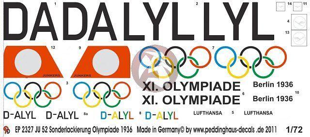 Peddinghaus-Decals 1//48 2326 Ju 52 Sonderlackierung Olympiade 1936