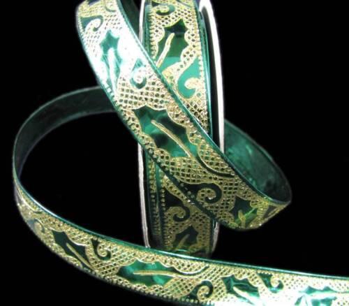 "10 Yards Christmas Gold Leaf Metallic Shiny Green Wired Ribbon 1//2/""W"
