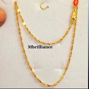 Authentic-916-gold-fine-22k-gold-Slim-Twist-Singapore-Chain-Necklace-1-74g-17-7-034