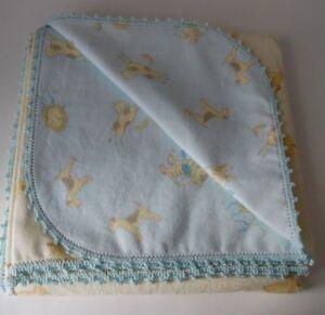 Flannel Baby Blanket Burp Crochet Edge43x44 Yellow Blue