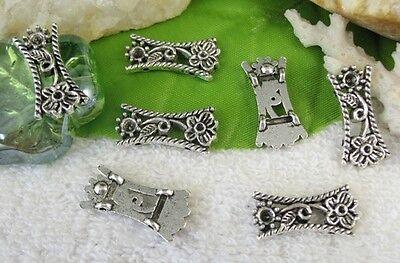 50PCS  Tibetan silver floral 2 holes spacer beads FC10396