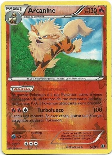 POKEMON IT NM Arcanine Reverse Holo 12//99 N/&B Destini Futuri