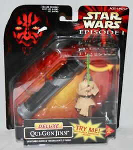 Star Wars Episode 1 Deluxe Qui-Gon Jinn /& Lightsaber From Hasbro 1998 NEW t499