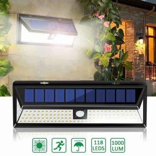 1//4pc 118LED Solar Lamp Outdoor Garden Waterproof PIR Motion Sensor Light 1000LM