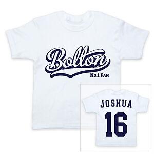 Bolton-Fussball-Personalisiert-Baby-Kinder-T-Shirt