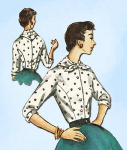 1950s Vintage Simplicity Sewing Pattern 1492 Uncut Ladies Blouse Size 14 32 Bust