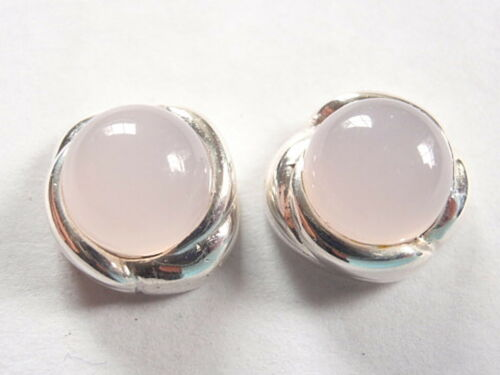 Rose Quartz 925 Sterling Silver Stud Earrings Round with Grooved Perimeter