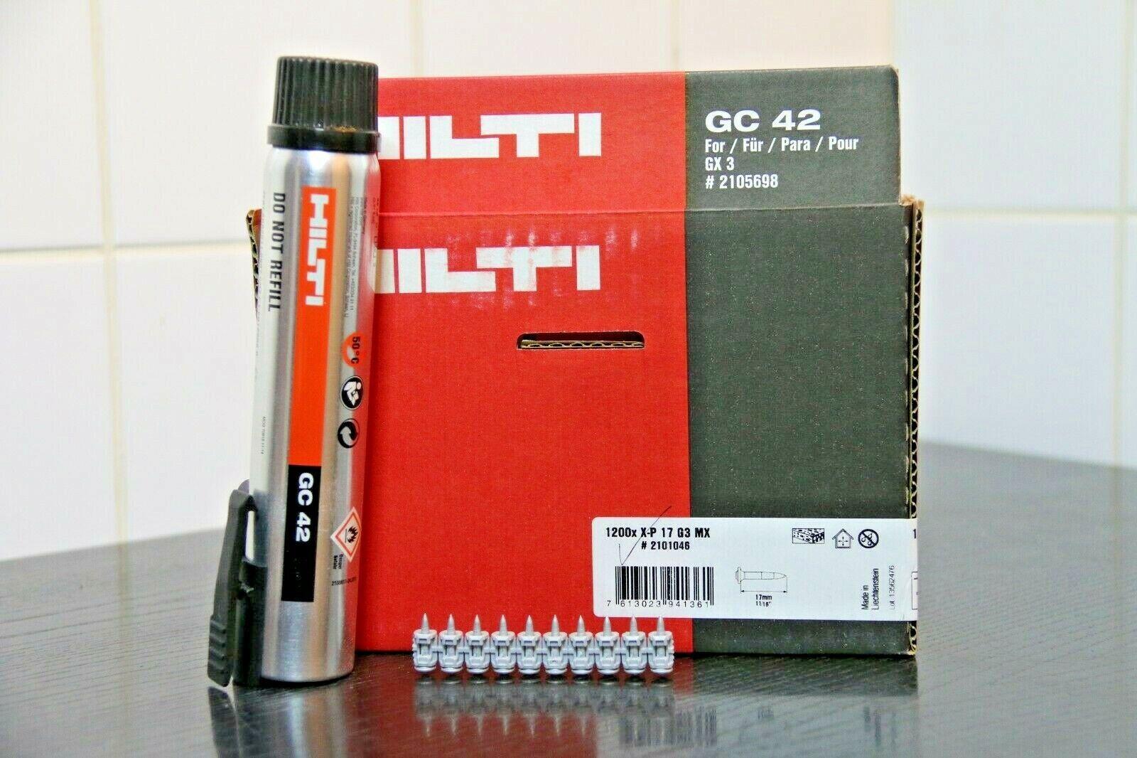 HILTI GX3 GX 3 1200  UNIVERSAL NAGEL Nägel X-P 17 G3 MX 17mm + GC 42 Gas Beton