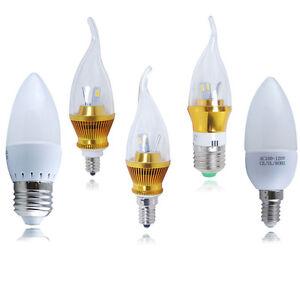 E12 Candelabra E14 E27 3W 5W 6W LED Candle Light Bulb Warm/ Cool White Lamp