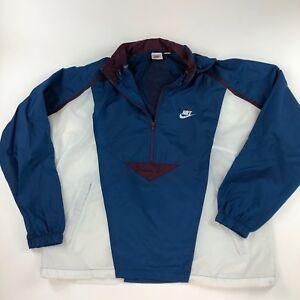630fc87bb Details about Vintage Nike Windbreaker Jacket Large 1/2 Zip Up Blue White  Vtg Mens Sport Hood