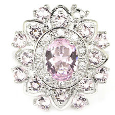 Beautiful Pink Kunzite, CZ SheCrown Woman's Party Silver Ring US 9.5#