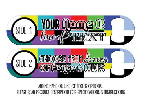 Add Text//Choose Font FREE SPINNER No Signal Broken TV Bartender Bottle Openers
