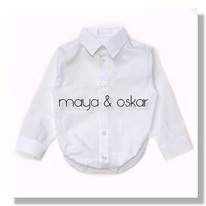 6800a7877 Baby Boy White Blue Smart Shirt Formal Bodysuit Body Shirt Long ...