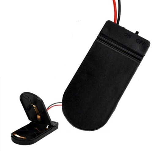 2PCS CR2032 Bouton Coin Cell Batterie Socket Holder Case Cover Interrupteur on//off NEUF