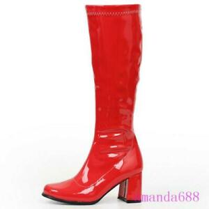 Women/'s Gogo Chunky Heel Over Knee-High Square Toe Boots Cosplay Party Shoes L