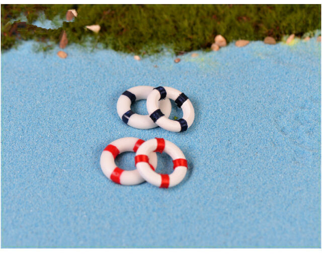 6Pcs Mini Swim Ring Decoration LIfe Buoy Miniature Garden Creative Handicrafts