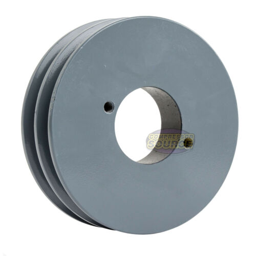 """Cast Iron 4.5/"""" 2 Groove Dual Belt A Section 4L Pulley With 7//8/"""" Sheave Bushing"""