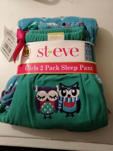 ST EVE GIRLS 2 Pack SIZE 10 Sleep Pyjama Bottoms OWL GREEN Design Size 10