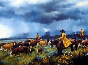 "Jack Sorenson ""Dampened Enthusiasm"" SN Cowboy Cattle Print 24"" x 18"""