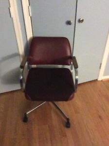 Prime Details About Office Chair Or Desk Chair Burgundy Upholstary Metal And Wood Swivel Machost Co Dining Chair Design Ideas Machostcouk