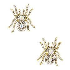 Shimmering Spider Queen Post Earrings Goldtone Crystal Aurora Borealis