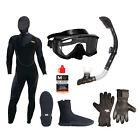 Cold Water Dive Set, Wet Suit Hood Mask Snorkel Fins 5mm Boots Gloves Anti-fog
