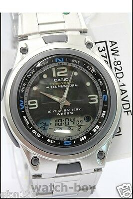AW-82D-1A Fishing Gear Casio Steel Black Watch 10-Year Analog Digital 10 Battery
