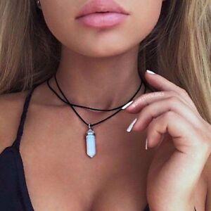 Leather-Choker-Necklace-Opal-Pendant-Boho-Vintage-Hippy-Retro-Black-Double-Cord