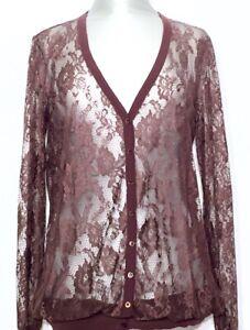 SCERVINO-STREET-Cardigan-Strickjacke-Shirt-Spitze-Lace-braun-brown-NEU-NP-240