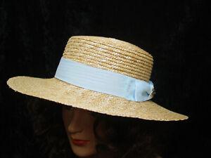 Victorian Vintage Civil War Style Renassance Fair Sun Hat Natural Wheat Straw