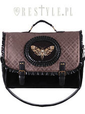 Restyle Moth Brown Bug Wings Skull Punk Charm Skeleton Satchel Bag Purse Handbag