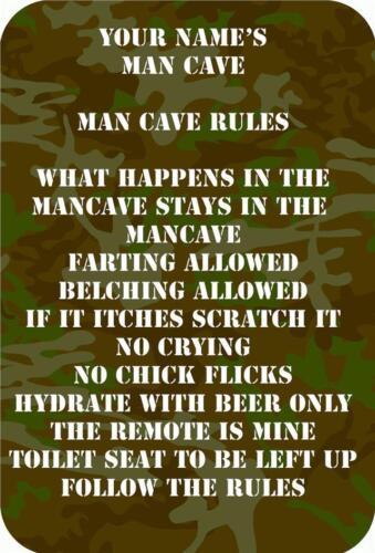 Règles homme personnalisé Cave plaque métallique signe de porte nouveauté dans l/'homme de taille a4