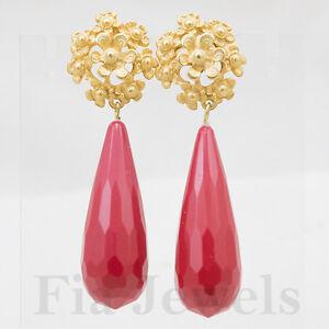 Raccogliere trova fattura bambino Dettagli su Orecchini goccia corallo rosso sfaccettato fiori filigranati  oro PL Gioielli