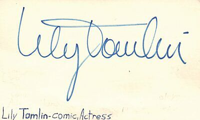 Dedicated Lilly Tomlin Actress Comedian Tv Movie Autographed Signed Index Card By Scientific Process Movies