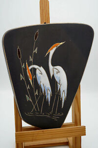 50er Vintage Placa de Pared Cerámica Ruscha Artesanía Decorativa Garza Bolz 736