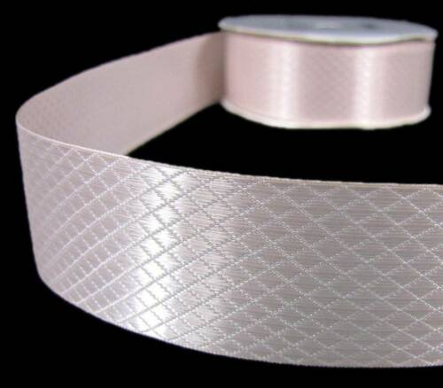 """3 Yds Candlelight Embossed Diamond Quilt Satin Ribbon 1 3//8/""""W"""