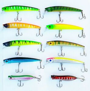 USA-Lot-de-10-Fishing-Lures-Top-Water-Popper-Crankbait-dur-articule-bass