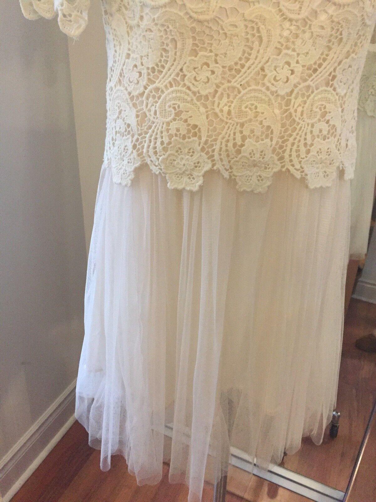 213 BY MICHELLE KIM KIM KIM Ivory Beige Crochet Tulle Mini Dress Size S Retail  350 7ed054
