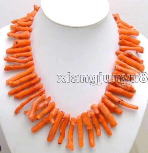 "8*40mm GENUINE Natural Orange Branch 20/"" Long Coral Necklace for Women nec5609"