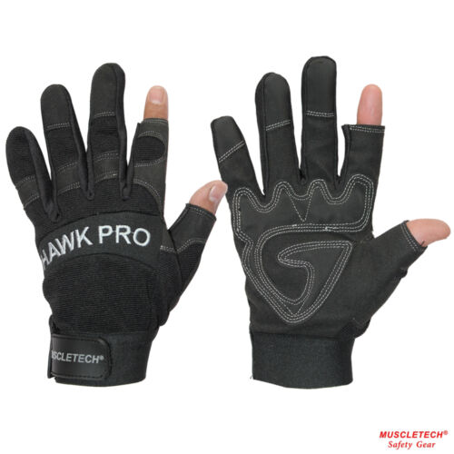 Black Semi Finger Less Leather Mechanic Gloves Safety Work Gloves Rigger Gloves