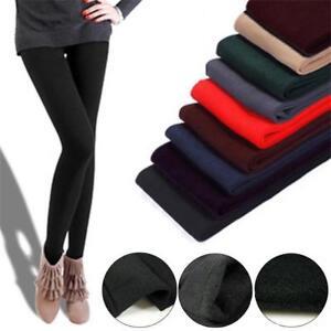 Caliente-Pantalones-de-algodon-termico-Medias-gruesas-Forro-polar-Slim-leggings