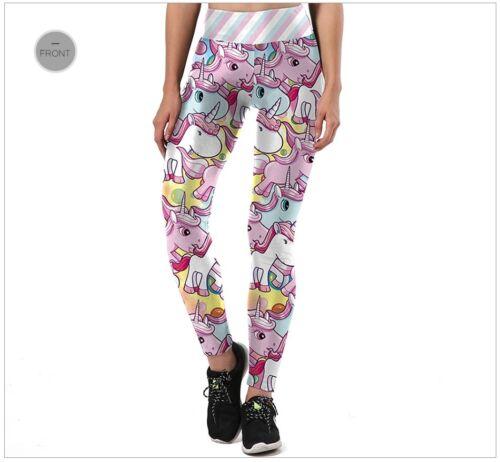Women/'s Unicorn Pink White Party Casual Leggings Exercise Yoga Pants