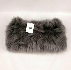 UGG-Australia-Varsity-Sheepskin-Snood-Grey-Mohair-Real-Fur-Scarf-Wool-NWT-275