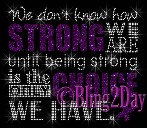 Iron on Vinyl//Rhinestone Transfer We don/'t know how STRONG PURPLE Ribbon