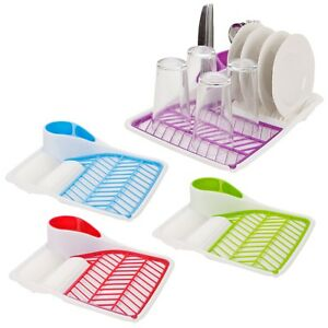 Plastic-Dish-Drainer-Plates-Cups-Utensil-Cutlery-Holder-Kitchen-Sink-Drying-Rack