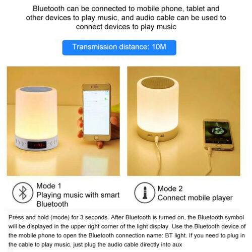 Night Light Bluetooth Speaker Dimmable Smart Touch Control Table Lamp LED Clock