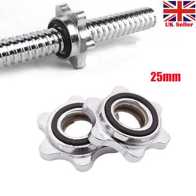 """2/"""" 50mm Barbell Bar Clips 1/"""" 25mm Dumbbell Spinlock Collars Spin Lock Nut UK"""