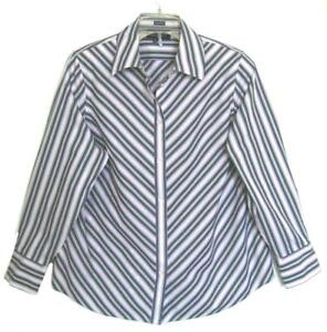 NWOT-WOMENS-JONES-NEW-YORK-COTTON-BLOUSE-PLUS-SIZE-1X-GREEN-RED-STRIPES