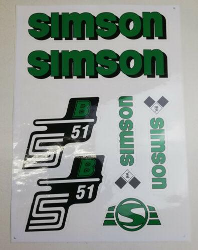 Satz Aufkleber f Simson IFA S51N S51 N51 Seitendeckel Tank Grün
